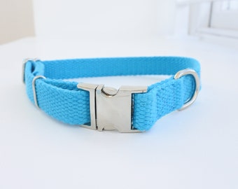 Bespoke Hand Dyed Blue Adjustable Dog Collar. Natural Unbleached Cotton. Metal Buckle.
