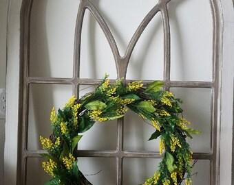 "18"" Yellow Wildflower Grapevine Wreath"