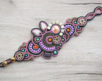 Soutache freeform bracelet. Unique handmade soutache jewelry.