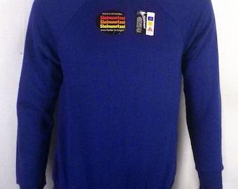 vtg 70s Rare Steinwurtzel nos new deadstock Blue Sweatshirt USA made raglan M