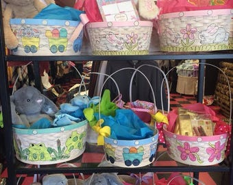 Large Handpainted Easter Basket.
