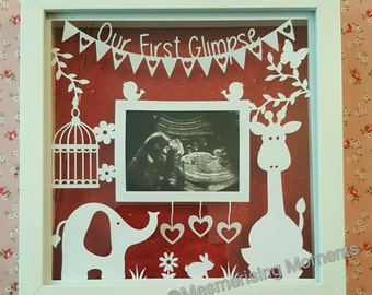 Our First Glimpse Frame for First Scan Picture Photo / Baby / Pregnancy/ Nursery / Baby Shower / Gift / Elephant and Giraffe