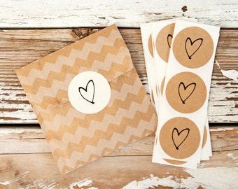 SALE Medium Heart Sticker Seals - Easy Peel Wedding Favor Bag or Envelope Accessory - 24 Stickers