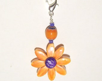 Orange and Purple Flower Zipper Pull - Purse Charm - Handmade Polymer Clay Bead