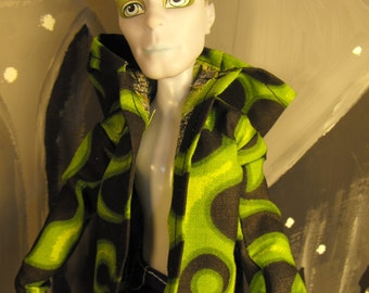Green Flame Print Jacket/Hoodie for Monster High Boy Dolls