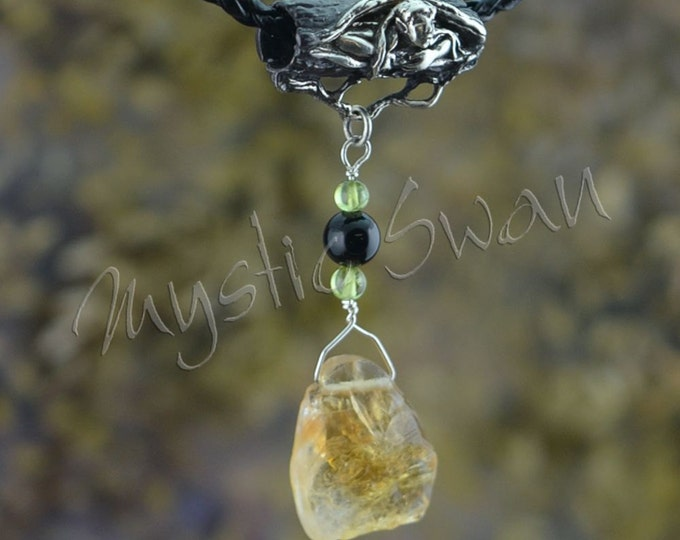 Faerie Tube Bail with Citrine, Peridot and Black Onyx