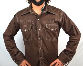 Vintage Brown Western Pearl Snap Shirt