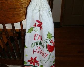 Crochet Hand Towel-ChristmasTheme- Eat Drink & Be Merry