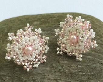 Beaded Post Earrings Flower Post Earrings Snowflake Earrings Pink Beaded Earrings Beadwoven Earrings Beadwork Earrings Seed Bead Earrings