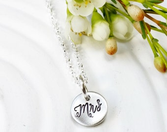 Mrs. Necklace - Hand Stamped Jewelry - Personalized Wedding Necklace - Bride to Be Gift - Engagement Gift - Personalized - Gift for Bride