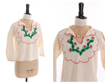 Embroidered Mexican Cotton Vintage Cactus Top