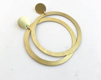 Brass earrings handmade jewel handmade earrings circle earrings