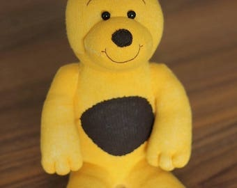 "Sock Animal ""Ginny"" - Yellow & Brown Plush Teddy Bear"