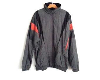 Vintage 90s Colorblock Windbreaker Gray Orange Active Wear Extra  Large