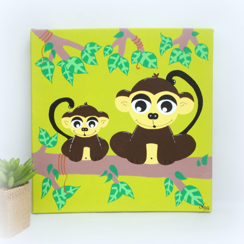 Monkey painting for kids Jungle monkey nursery decor Nursery