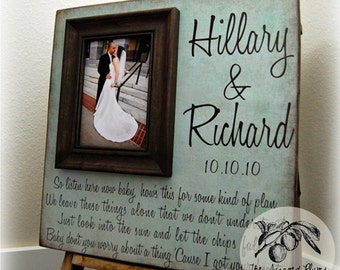 Bridal Shower, Picture Frame Wedding, Wedding Gift, 16x16 Anniversary Love Father Mother Parents Quote Song Vows Guest Book
