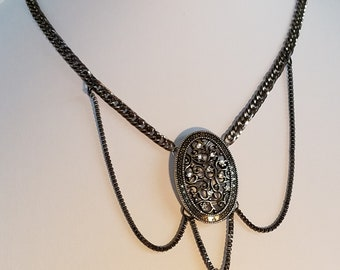 Black Necklace, Choker Necklace, Goth Jewelry, Boho Jewelry, Chain Necklace, Black Chain, Rhinestone Jewelry, Bling, Filigree Pendant
