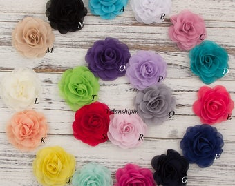 Free Shipping Chiffon Petals Poppy Flower Rolled Rose Fabric Hair Flowers For Baby Girls Hair Headband Accessories Diy Supplies Flower 8cm