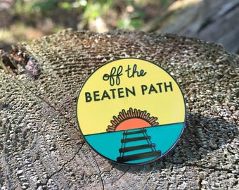 Explorer Pin, Wilderness Pin, Adventure Pin, Enamel Pin Sun, Lapel Pin, Hard Enamel Pin, Sunset Pin, Off the Beaten Path, Pin Badge