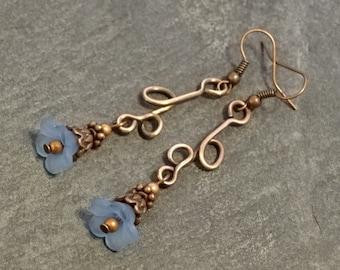 Blue Blossom Copper Wire Earrings