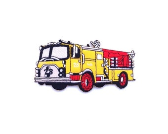 Fire Truck Iron on Patch Size 11.9 x 5.6 cm