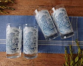 Midcentury glassware set. Vintage blue and white glassware. Rustic farmhouse kitchen. Illustration glassware. Midcentury drink glasses.