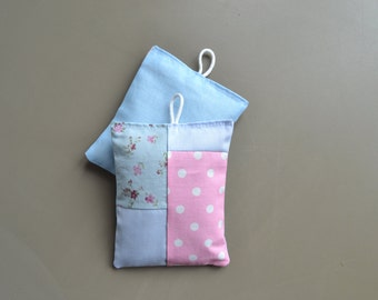pastels patchwork lavender sachets - bedroom scent - lavender pillows with loop - housewarming gift - stocking stuffer - mothersday gift