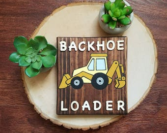 Small, Rustic, Construction Vehicle (Backhoe Loader) Wall Decor