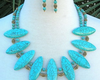 "DRAMATIC Turquoise Magnesite ""Shields"" & Gold Vermeil Beads, Small Real Turquoise Beads, 2-Strand Statement Necklace Set by SandraDesigns"