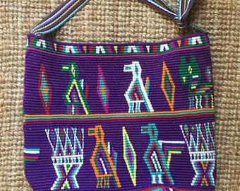 Rare Vintage Wayuu Guatamelan Cotton Woven Large Bucket  Tote Bag