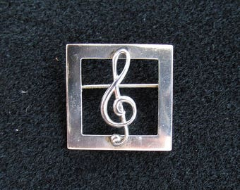 Vintage Beau Sterling Brooch Pin Musical Treble Clef