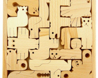 Wooden Puzzle, Wooden Zoo Puzzle, Animal puzzle, Zoo Puzzle, Wood Toy, Wooden Puzzle for kids, Montessori toy, Educational Toy, Woodland toy