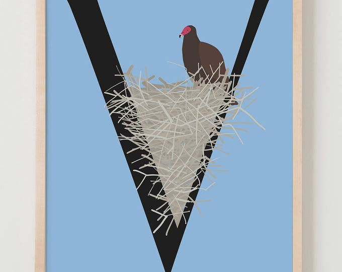 Animal Alphabet, V is for Vulture Fine Art Print