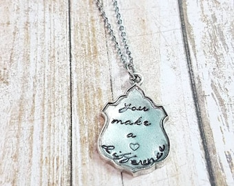 You make a difference hand stamped pewter pendant volunteer appreciation