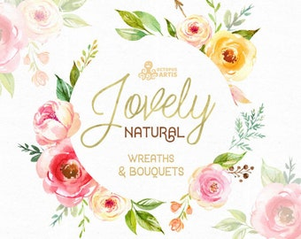 Lovely Natural. Wreaths and Bouquets. Watercolor Clipart, peony, arrows, floral frame, bouquets, valentines, wedding, country, diy, boho
