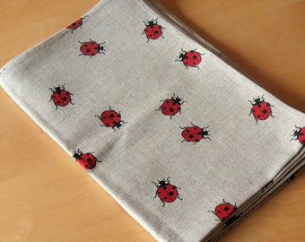 "Bed Linen Sheet Eco friendly Black Gray Ladybug Red Black 91"" x 60"""