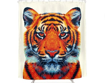 Tiger Shower Curtain - Colorful Animals