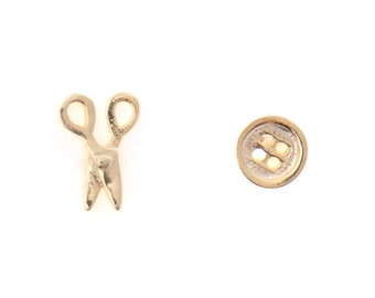 Sterling Silver Scissors and Button Stud Earrings