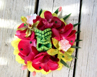 Tiki Fascinator, Tropical Hair Clip, Odd Rodney Tiki, Beach Hair,  Pinup Flower, Tiki Accessorie, Beach Weddings, Oasis, Hawaiian Flower