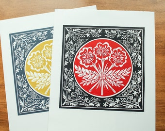Original linocut print, Boquet, red and black or gold and gray, open edition, two color print