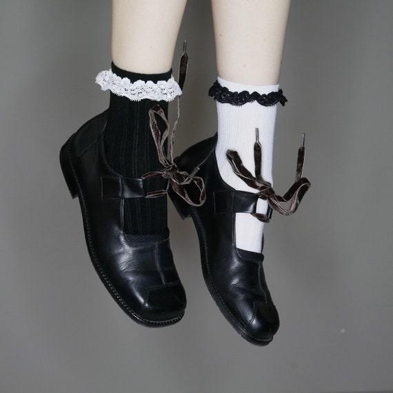 velvet black mary 8 size 90s with 8 leather laces minimalist 5 janes avant garde BnnFAZq8S