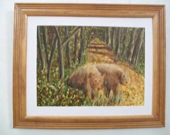 frame art print of bears in the woods