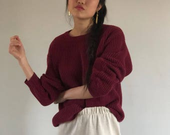 oxblood oversized sweater / slouchy 90s sweater / boyfriend sweater / cotton sweater | xl