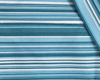 Cotton Fabric / Blue Cotton Fabric / Blue  Stripe Cotton Fabric / Cotton Quilting Fabric /  Striped Cotton Fabric / Brother Sister Design