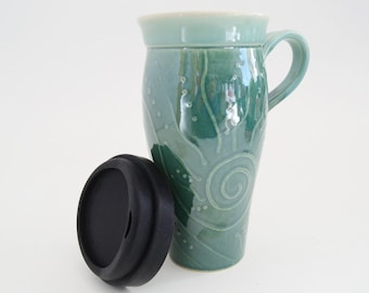 IN STOCK, Ceramic Travel Mug with Silicone Lid, Large To Go Mug with Handle, 24 oz Stoneware Coffee Mug, Travel Mug with Handle