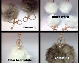Fur Ball Pom Pom or Pom Pom Keychain/Faux Fur Keychain/Fake Fur Keychain/Fur key chain/fur ball/vegan fur/cruelty free POM POM Vegan Fashion