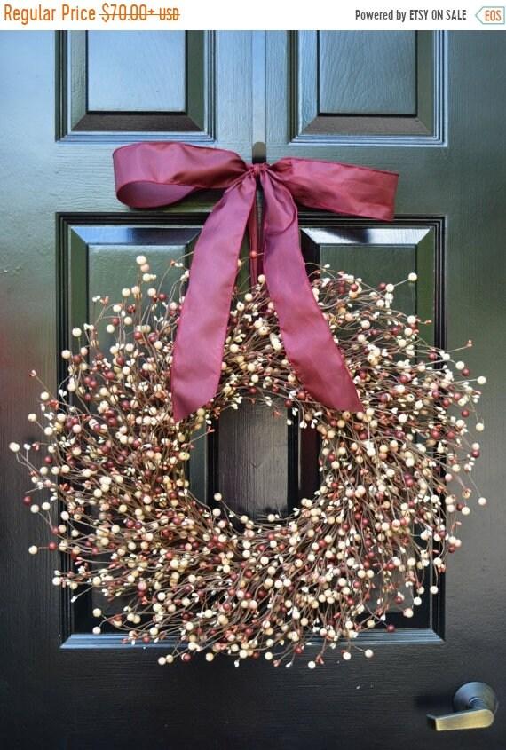 SPRING WREATH SALE Berry Wreath- All Year Wreath-Christmas Decor- Autum Wreath- Burgundy Wreath- Autumn Wreath- Year Round Wreath- All Seaso