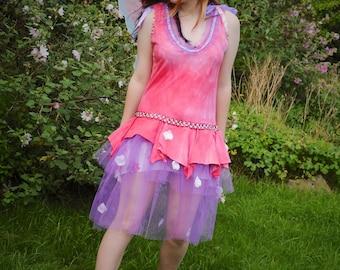 Flower fairy costume, Pink red & purple Ballet fairy dress, Women's Disney princess Sleeping Beauty Aurora costume