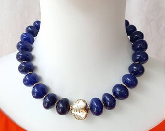 Modern Sapphire Necklace 760 Ct, Sterling Silver 925  clasp and fancy bead