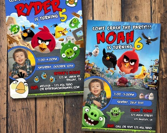 Angry Birds Birthday Invitation with Photo, Angry Birds Invitation with Photo